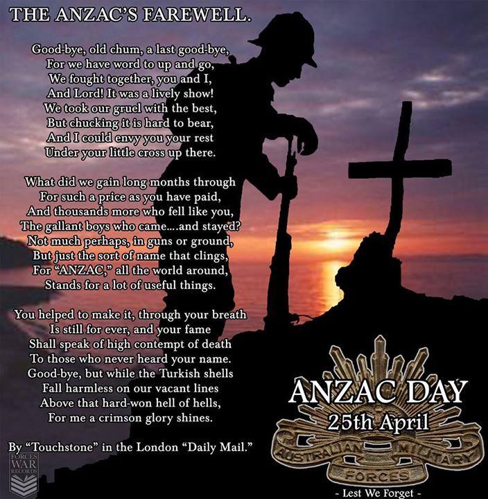 The ANZAC's Farewell.