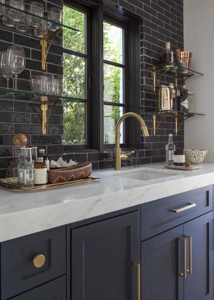 Love the shelves & tile mix