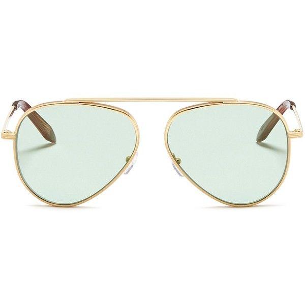 Victoria Beckham Browline bridge mirror aviator sunglasses (1,060 PEN) ❤ liked on Polyvore featuring accessories, eyewear, sunglasses, metallic, green lens aviator sunglasses, metal frame glasses, mirrored sunglasses, mirror aviators and mirror sunglasses