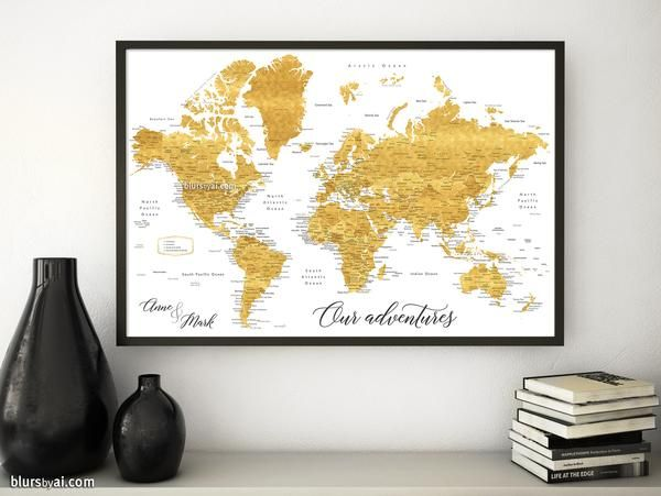 Mejores 57 imgenes de blursbyai lots of world maps en pinterest wedding guestbook map print gold world map with cities in faux gold foil effect gumiabroncs Choice Image