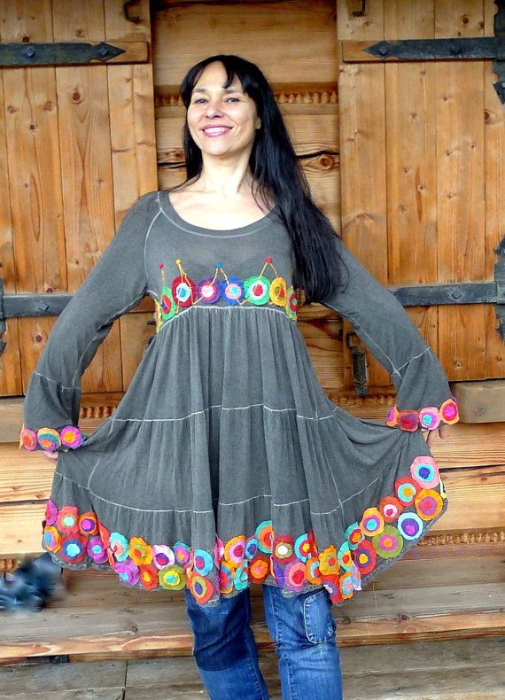 Colorful crazy flowers appliqued dress tunic. Made from recycled clothing. remade, reused and upcycled. Hippie gypsy boho style. One of a kind.  Size: