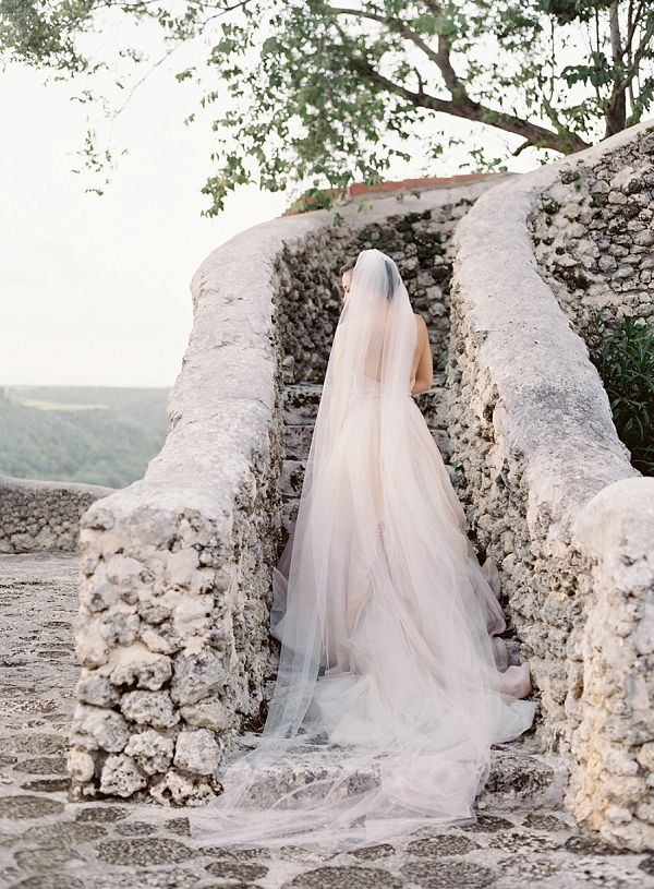 Gorgeous Chapel Length Veil | Dominican Republic Resort Wedding By Carrie King Photographer