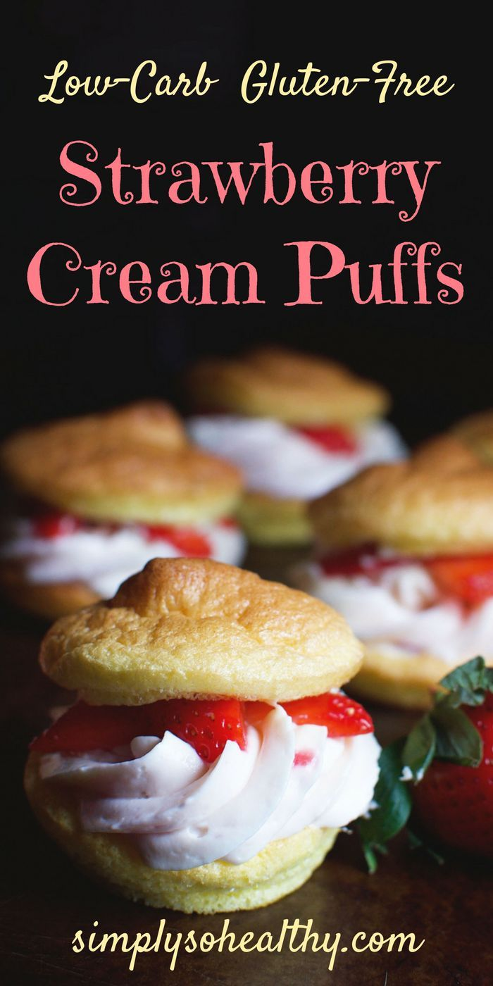 These Low-Carb Strawberry Cream Puffs make a dreamy dessert. This dessert is perfect for Valentine's day and can be part of a ketogenic, low-carb, Atkins, LC/HF, gluten-free, or Banting diet.