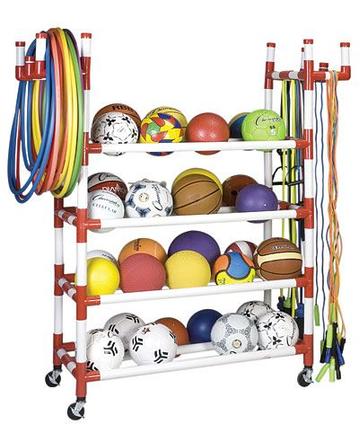 Champion Sports Equipment Cart Rack   Could I make this myself with pvc pipe and tape? Looks like that's all it is... hmm...
