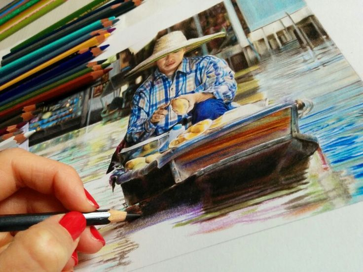 My drawing: colour pencils on paper. #workinprogress #draw #drawing #art #artist #colourpencils #thailand #carandache