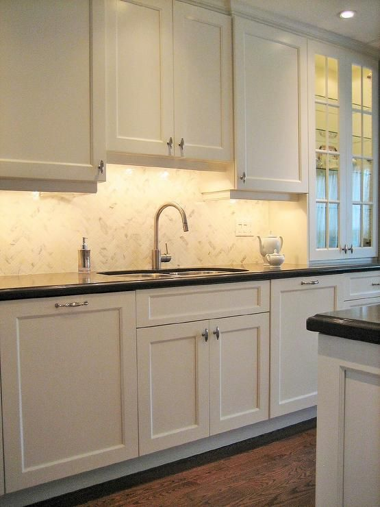 Transitional Kitchen Benjamin Moore Cloud White Custom Kitchen Cabinets Kitchen Cabinets