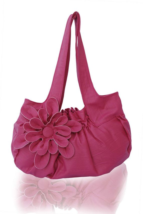 Sale.. Leather Purse / Handbag / Shoulder Bag with Stylish Flower Applique - Fuchsia, Pleated with Double Straps - 10% Off