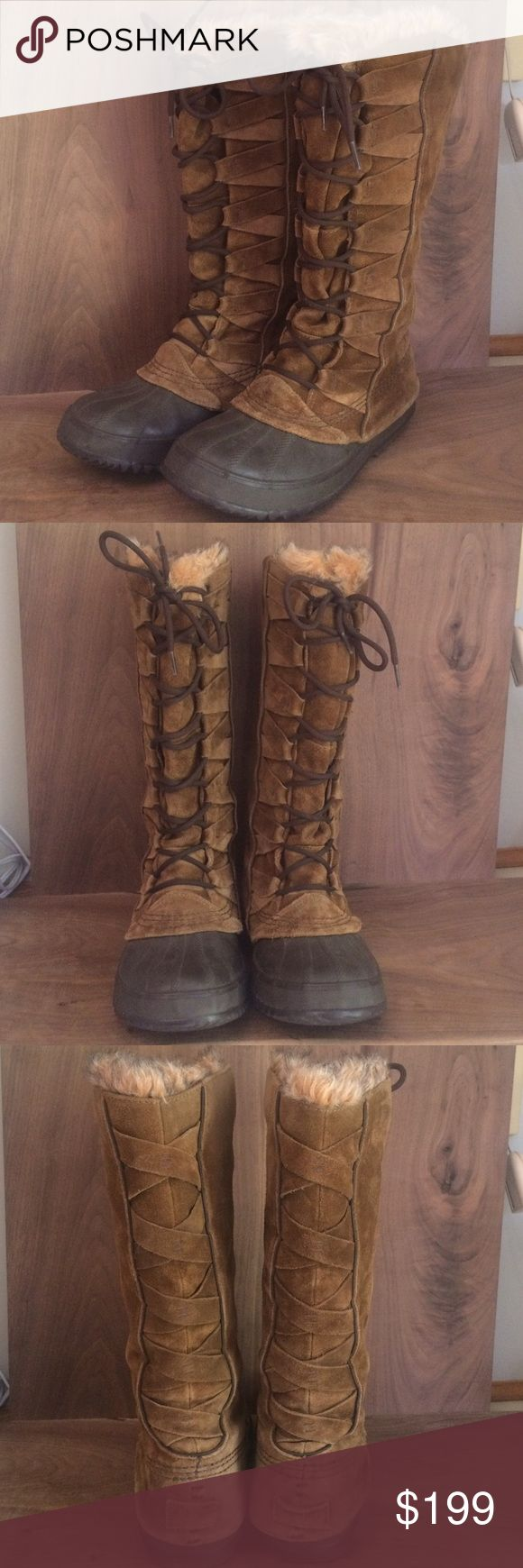 Sorel Cate of Alexandria Lace Up Winter Boots 8 Sorel Cate of Alexandria lace up waterproof suede women's winter boots. Size 8. Removable recycled felt lining with faux fur collar. Super cute boots. Some wear but they have plenty of life left. Hard to find. No trades. Sorel Shoes Winter & Rain Boots