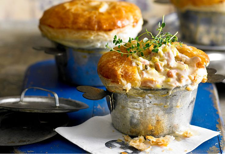 Crisp pastry hides a velvety chicken filling in these pot pies.