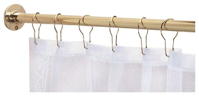 97306 Shower Curtain Rod, Solid Brass, 6'L transitional-shower-curtain-rods