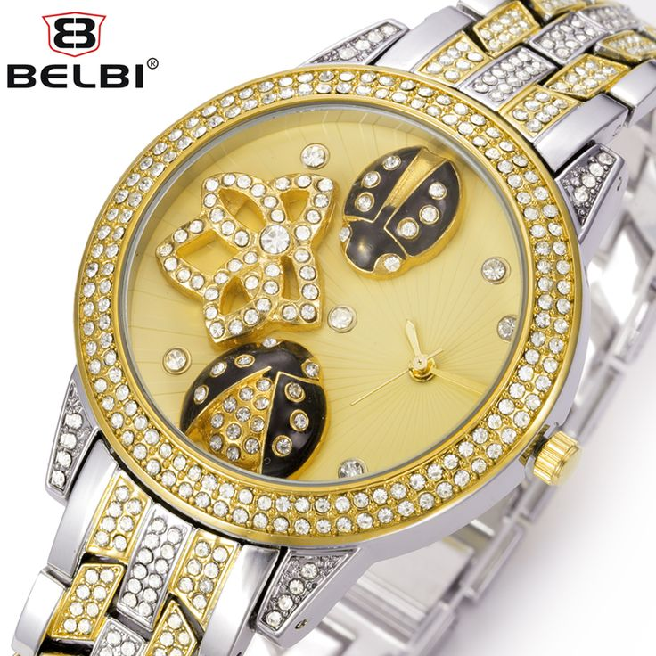 BELBI  Brand Women Watch Lady Oval Alloy Steel Quartz Watch Dress Rhinestone Ladybug Gold Luxury Wristwatches Relogio Feminino-in Women's Watches from Watches on Aliexpress.com | Alibaba Group
