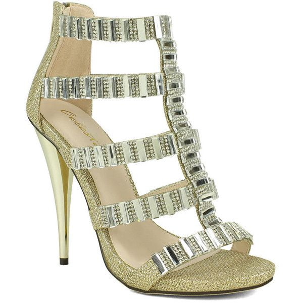 Celeste Women's Riva-01 Embellished High Heeled Women's Dress Sandal ($15) ❤ liked on Polyvore featuring shoes, sandals, silver, strappy sandals, open toe high heel sandals, high heel shoes, strappy dress sandals and high heeled footwear
