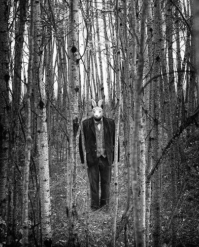 creepy bunny/man in the trees.