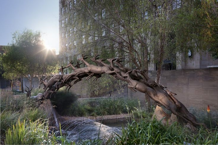 """As one of Johannesburg's most famous pieces of art, Impala Fountain, created by Harry Oppenheimer, shows """"nature's most graceful charge that competes with any man-made efforts"""". [Source: hermanwald.com] #pinyourcity"""