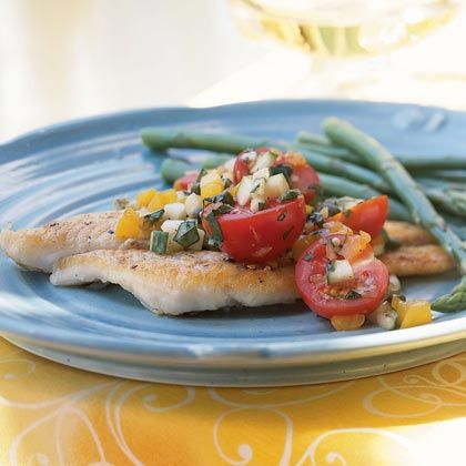 Pan-Fried Sole with Cucumber and Tomato Salsa | MyRecipes