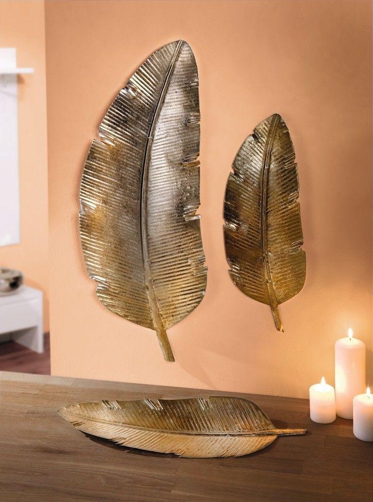 wanddeko glanzfeder 2er set jetzt fur 12 95 kaufen im frank flechtwaren und deko online shop diy schablonen wande wanddekoration natur großflächig