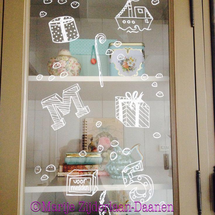 Sinterklaas decoratie/ window painting/raamtekening#Marije Zijderlaan-Daanen