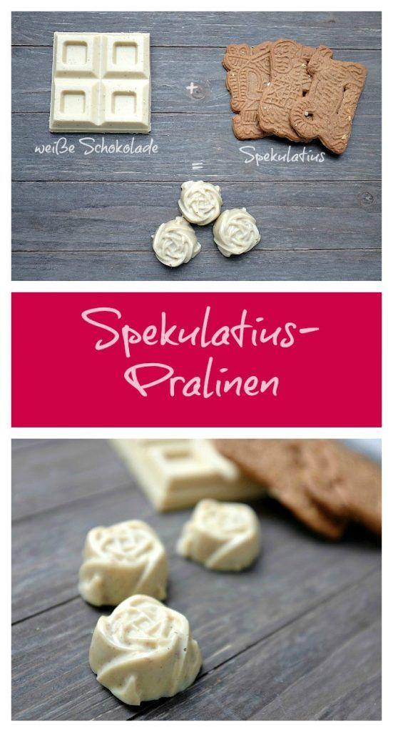 Eine köstliche Praline aus nur 2 Zutaten: weiße Schokolade und Spekulatius. Ein leckerer weihnachtlicher Schokogenuss!
