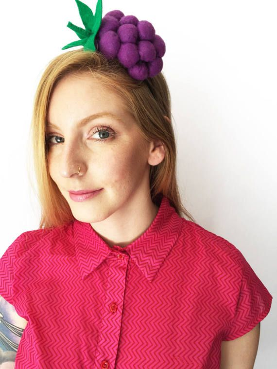 Mirror mirror on the wall whos the prettiest headband of them all? this unique handmade headband is full of grapes shape made out of felt. wear this hairband and your day (and night) will be filled with compliments. For the lovely pink blouse: https://www.etsy.com/il-en/listing/503866012