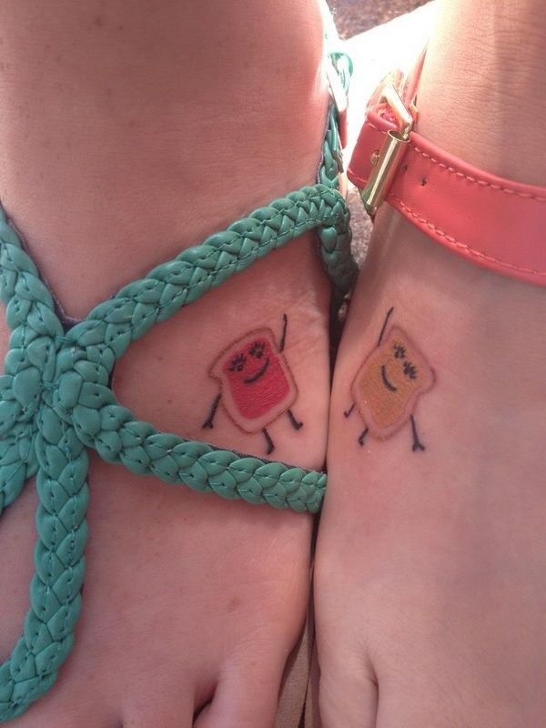 Small friendship tattoos of toasts with jelly and butter