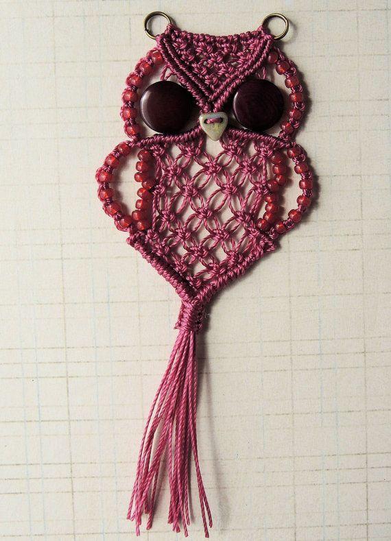 Micro Macrame Owl Pendant Tutorial - Macrame Owl - DIY - Pattern - Jewelry…