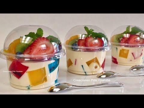 (848) Gelatinas individuales Mosaico y 3 leches para negocio o mesa de postres - YouTube