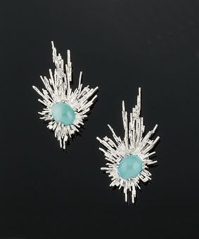 A pair of 18ct. white gold, turquoise and diamond earrings, by Charles de Temple