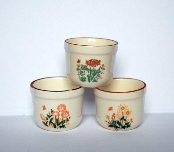 3 Vintage Mini Ceramic Flower Pots From Germany Ceramic