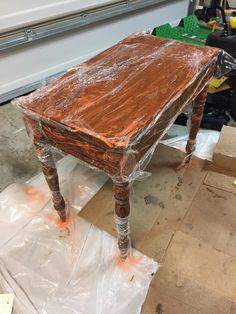 stripping furniture the easy way: spray stripper and saran wrap overnight.