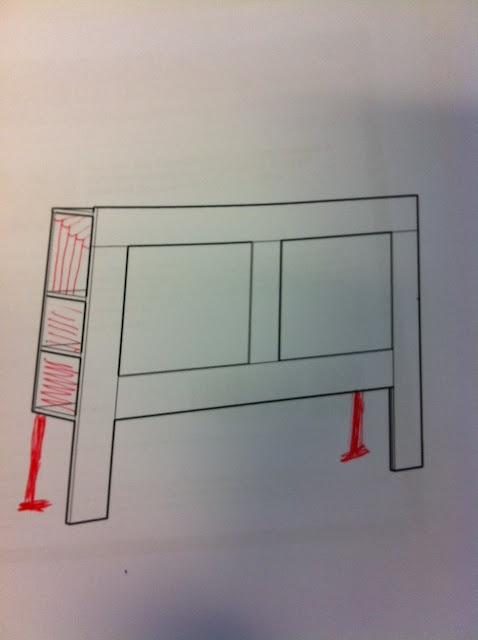Hacker help: Brimnes free standing headboard  Storage headboard!