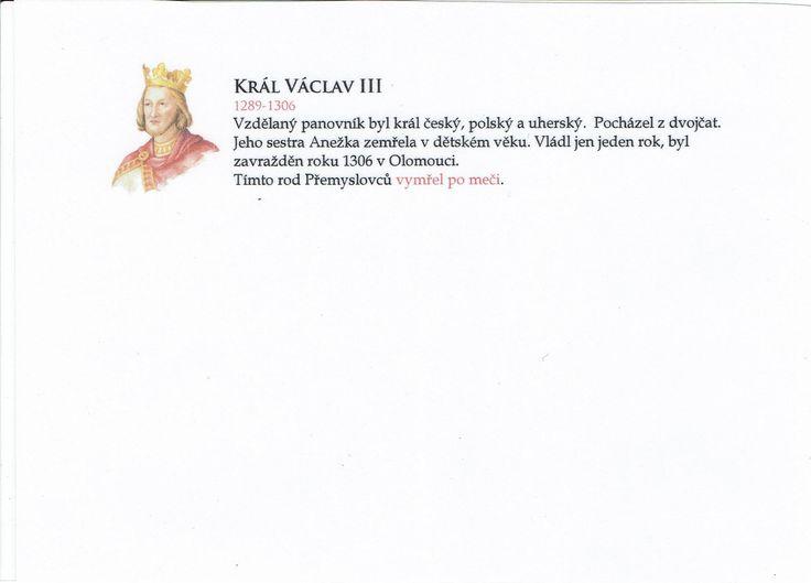 Přemyslovští králové 3/3 (Kartičky o Historii - Dopuručuji zafoliovat a pak chronologicky ukládat do pořadače)