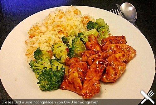 Honig - Hähnchenbrust mit Sesam und Broccoli