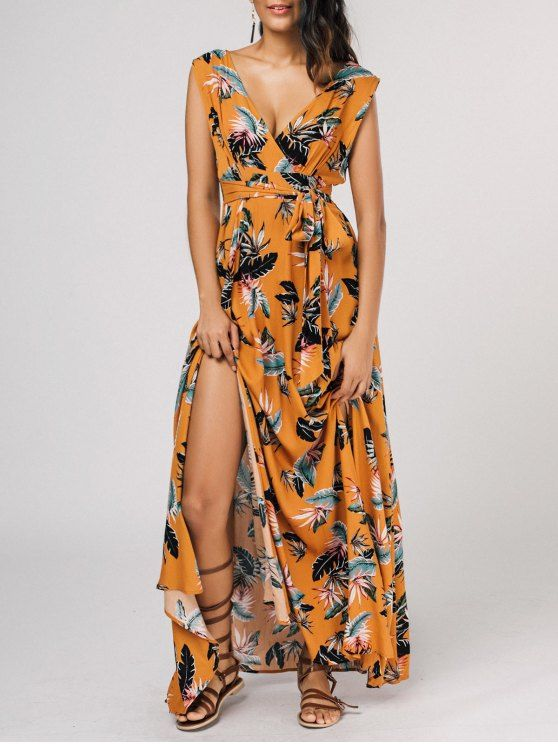Self Tie High Slit Floral Maxi Surplice Dress - YELLOW XL