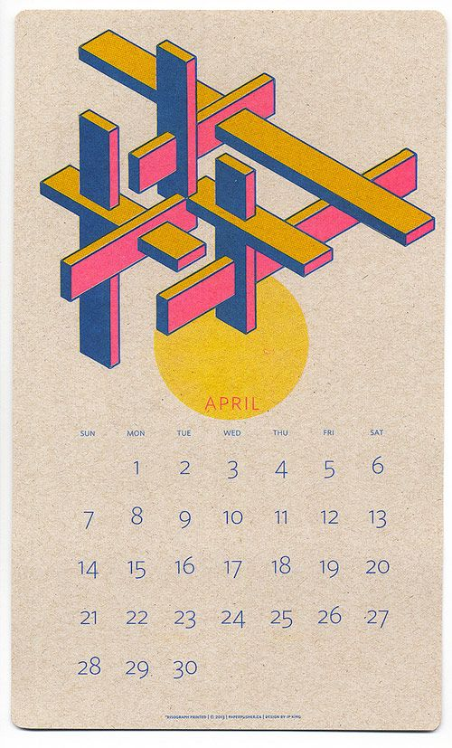 Risograph Calendars designed by JP King and printed by Paper Pusher Printworks.