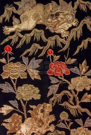 Vintage Japanse draak bloemen op kimono Stockfoto