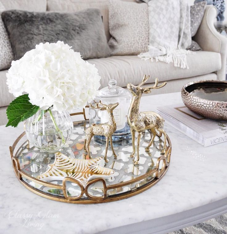 Coffee Table Styling Tray Styling Mirror Tray Hydrangeas Reindeers Winter Dining Room Table Centerpieces Table Decor Living Room Coffe Table Decor