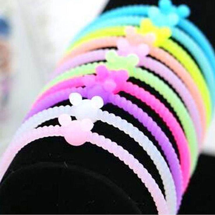 Heiße neue mode im dunkeln leuchten leuchtsilikonarmband armband gummiband haare seil kopfschmuck haarband 10 farben
