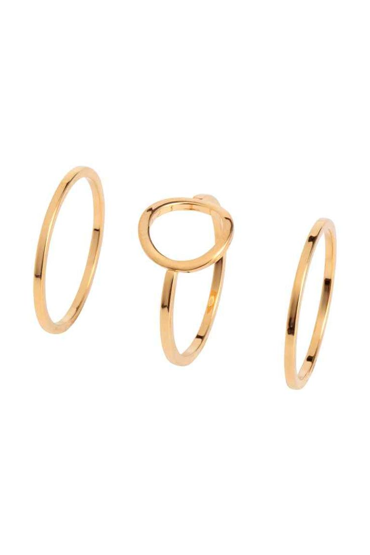 3-pack gold-pated rings - Gold - Ladies | H&M GB 1
