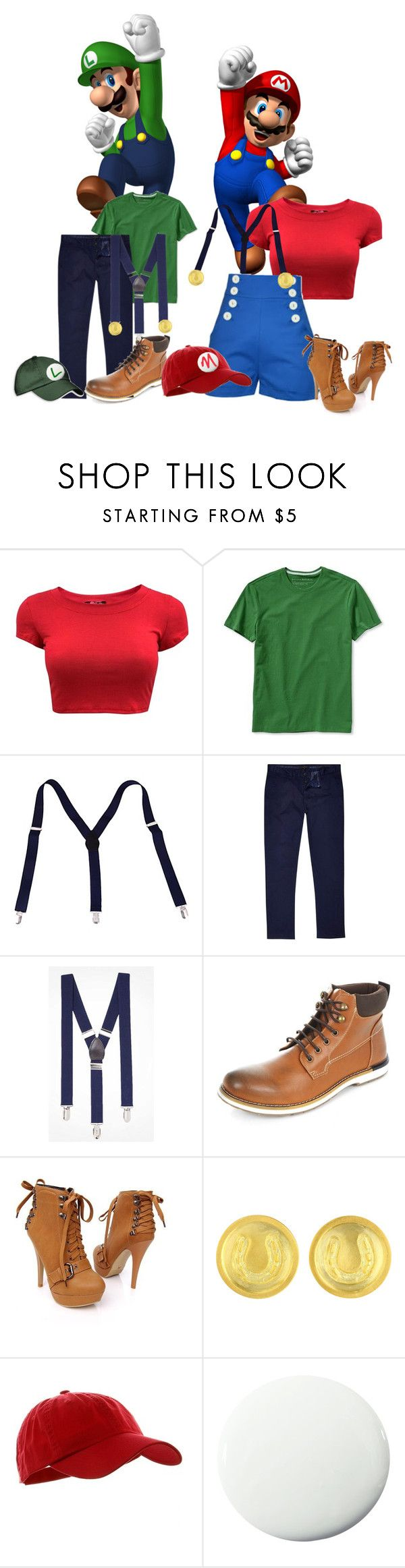 """His and Her Halloween Costumes: Mario and Luigi"" by kurlyglamour ❤ liked on Polyvore featuring Banana Republic, River Island, Express, Pure Home, hisandhers, mario, luigi and halloweencostume"