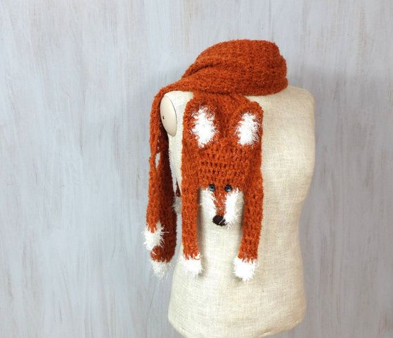 """Red fox, handmade soft scarf, crochet wrap, very long animal scarf, fox scarf, maroon red white, shawl, for animal lovers, Christmas gift Very soft and long red fox scarf — crocheted by myself made of very soft acrylic yarn, with buttons eyes and embroidered nose.  Length with paws and tail: 85 (215 cm), without paws and tail (only """"body""""): 65 (164 cm) Width: 7 (17.5 cm)   Made in a smoke free house.  Ready to ship.   Please check dimensions carefully. Due to lighting conditions and monitor…"""