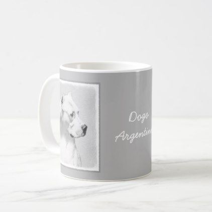 Dogo Argentino Coffee Mug - drawing sketch design graphic draw personalize