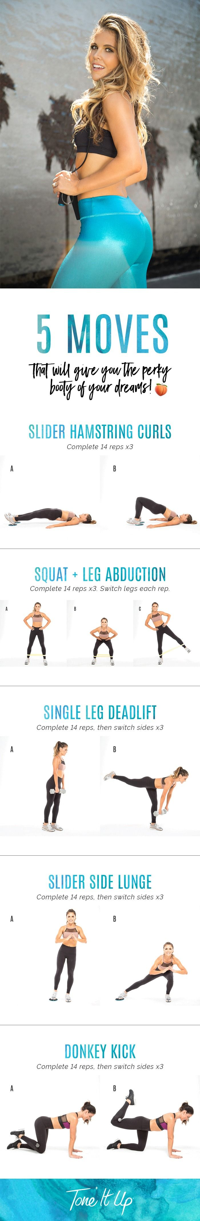 These 5 Moves Will Give You The Perky Booty Of Your Dreams on ToneItUp.com
