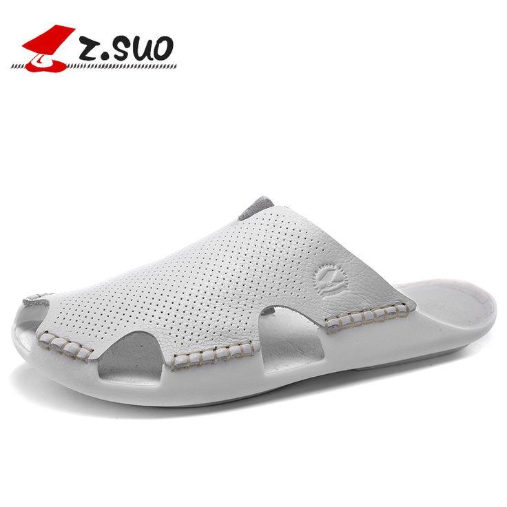>> Click to Buy << Z. Suo men's Slippers,leisure fashion leather Slipper,PVC soles waterproof closed toe sandals.Sandalias DE cuero DE los hombres #Affiliate