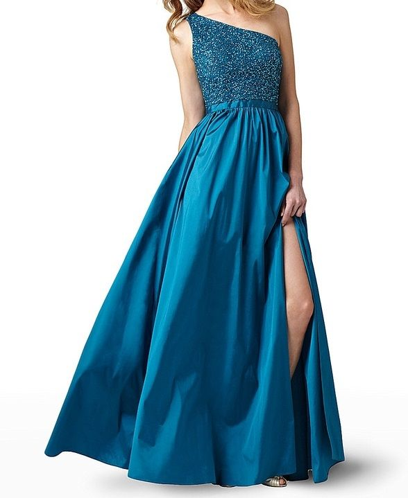 A One Shoulder Blue Adrianna Papell 091867120 Gown Picture