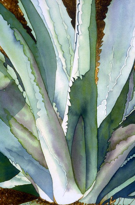 """""""Agave1,"""" a watercolor painting of an agave plant by Eunice Olson."""