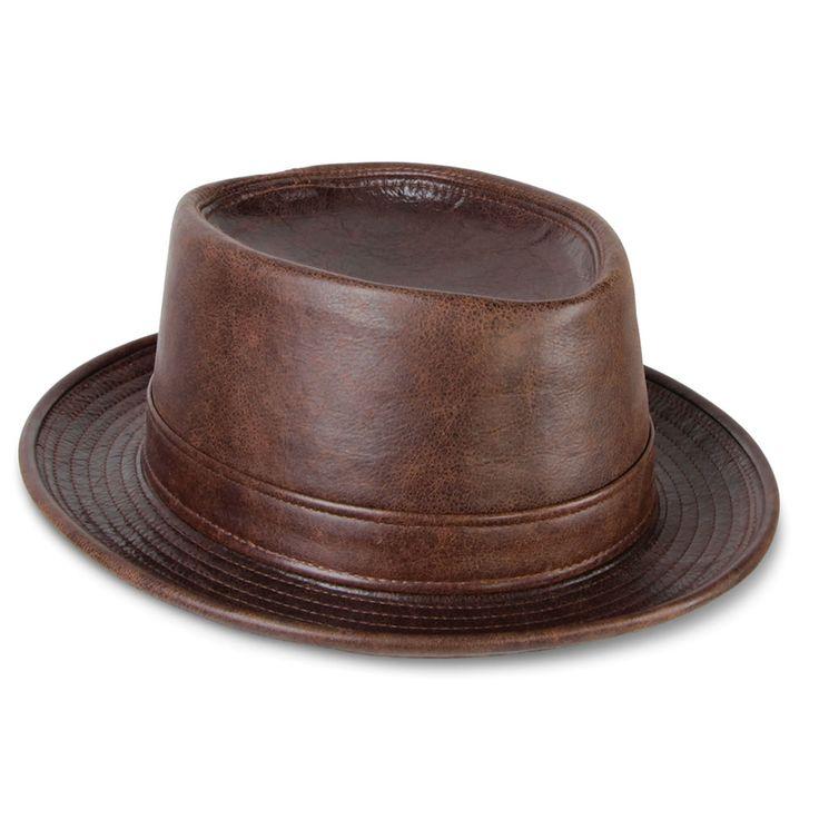 The Leather Porkpie Hat - Hammacher Schlemmer