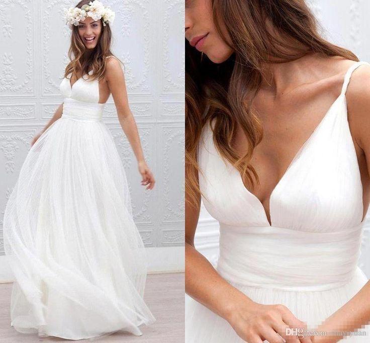 Lovely  Cheap Summer Beach Bohemian Wedding Dresses A Line V Neck Tulle Long Floor Length Plus