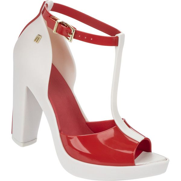 Melissa Bite White/Red ($46) ❤ liked on Polyvore featuring shoes, red shoes, red platform shoes, white shoes, melissa footwear and red white shoes