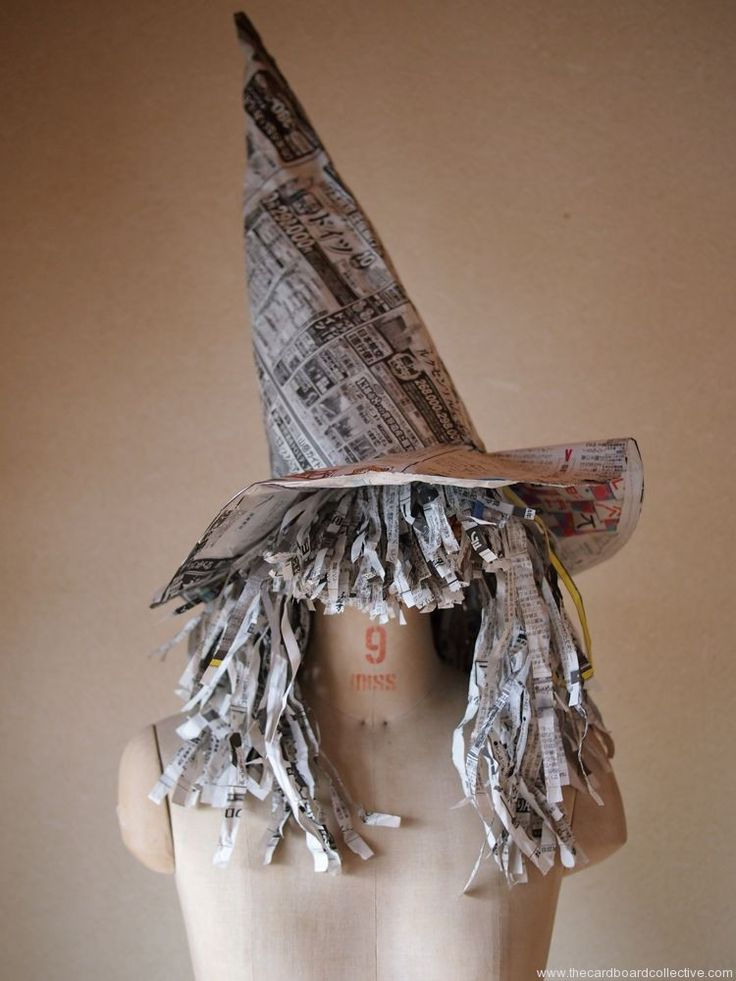 Newspaper witch hat and wig - easy to paint and light to wear! | by The Cardboard Collective