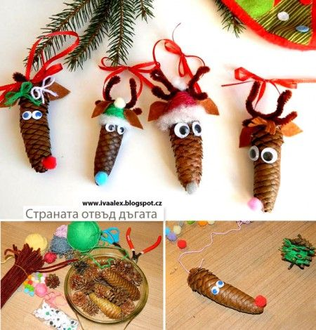 Reindeers from pine cones